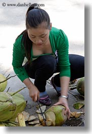 asia, asian, coconuts, cutting, ha long bay, people, vertical, vietnam, womens, photograph