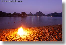 asia, beaches, dusk, fire, ha long bay, horizontal, mountains, nature, scenics, slow exposure, vietnam, photograph