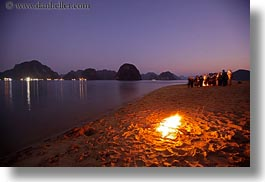 asia, beaches, dusk, fire, ha long bay, horizontal, long exposure, mountains, nature, scenics, vietnam, photograph