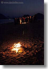 asia, beaches, fire, ha long bay, nite, scenics, slow exposure, vertical, vietnam, photograph