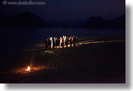 asia, beaches, fire, ha long bay, horizontal, nite, scenics, slow exposure, vietnam, photograph