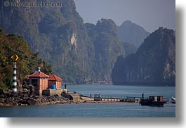 asia, dock, ha long bay, horizontal, mountains, nature, scenics, vietnam, photograph