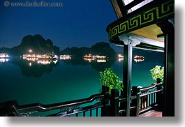asia, boats, ha long bay, horizontal, mountains, nature, nite, reflections, scenics, slow exposure, vietnam, photograph