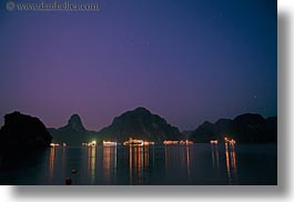 asia, boats, ha long bay, horizontal, long exposure, mountains, nature, nite, reflections, scenics, vietnam, photograph