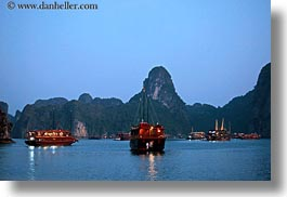 asia, boats, ha long bay, horizontal, mountains, nature, nite, reflections, scenics, vietnam, photograph