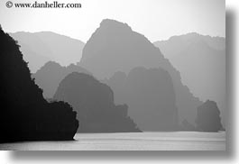 asia, black and white, ha long bay, hazy, horizontal, mountains, ocean, sunsets, vietnam, photograph