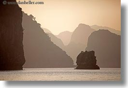 asia, ha long bay, hazy, horizontal, mountains, ocean, sunsets, vietnam, photograph