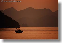 asia, boats, colors, ha long bay, horizontal, mountains, nature, oranges, sky, small, sun, sunsets, vietnam, photograph