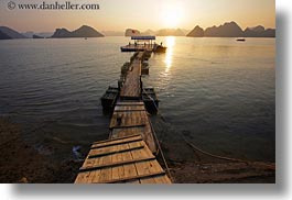 asia, dock, ha long bay, horizontal, mountains, nature, sky, sun, sunsets, vietnam, photograph
