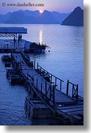 asia, blues, colors, dock, ha long bay, mountains, nature, sky, sun, sunsets, vertical, vietnam, photograph