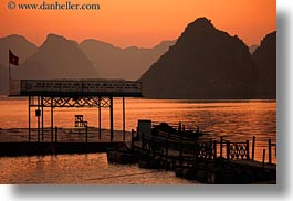 asia, colors, dock, ha long bay, horizontal, mountains, nature, oranges, sky, sun, sunsets, vietnam, photograph