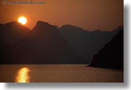 asia, ha long bay, horizontal, mountains, nature, sky, sun, sunsets, vietnam, photograph