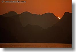 asia, colors, ha long bay, horizontal, mountains, nature, oranges, sky, sun, sunsets, vietnam, photograph
