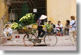 asia, bicycles, bikes, flowers, hanoi, horizontal, vietnam, yellow, photograph