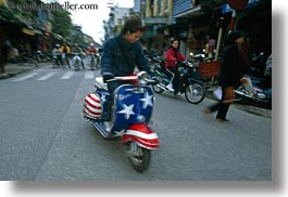 american, asia, bikes, flags, hanoi, horizontal, motorcycles, people, vietnam, photograph
