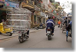 asia, bicycles, bikes, cage, carrying, hanoi, horizontal, metal, stuff, vietnam, photograph