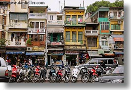 asia, buildings, hanoi, horizontal, motorcycles, vietnam, photograph
