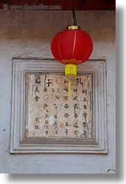 asia, caligraphy, confucian temple literature, hanoi, lanterns, red, vertical, vietnam, photograph