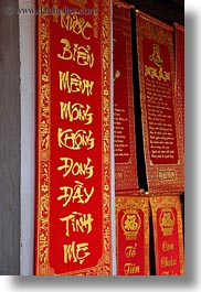 asia, caligraphy, confucian temple literature, gold, hanoi, red, vertical, vietnam, words, photograph