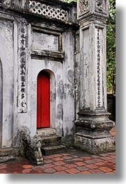 asia, buildings, concrete, confucian temple literature, doors, hanoi, red, vertical, vietnam, photograph