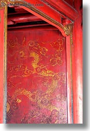 asia, confucian temple literature, doors, dragons, golden, hanoi, paintings, red, vertical, vietnam, photograph