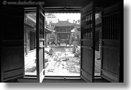 asia, black and white, confucian temple literature, doors, hanoi, horizontal, vietnam, woods, photograph