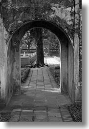 archways, asia, black and white, confucian temple literature, gardens, hanoi, trees, vertical, vietnam, photograph