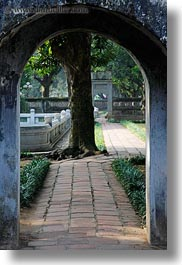 archways, asia, confucian temple literature, gardens, hanoi, trees, vertical, vietnam, photograph