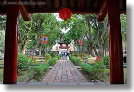 asia, bricks, confucian temple literature, gardens, hanoi, horizontal, vietnam, walkway, photograph