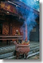 asia, burning, confucian temple literature, hanoi, incense, smoke, vertical, vietnam, photograph