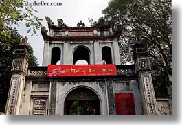 asia, buildings, confucian temple literature, entry, hanoi, horizontal, main, vietnam, photograph