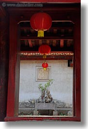 asia, confucian temple literature, hanoi, lanterns, pillars, red, vertical, vietnam, photograph