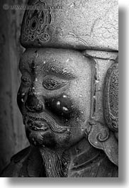 asia, black and white, confucian temple literature, guards, hanoi, sculptures, stones, vertical, vietnam, photograph