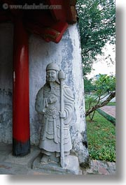 asia, confucian temple literature, guards, hanoi, pillars, red, statues, vertical, vietnam, white, photograph