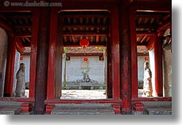 asia, confucian temple literature, guards, hanoi, horizontal, pillars, red, statues, vietnam, white, photograph