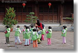 asia, childrens, confucian temple literature, green, hanoi, horizontal, jackets, people, school, vietnam, photograph