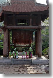 asia, childrens, confucian temple literature, green, hanoi, jackets, people, school, vertical, vietnam, photograph