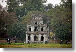 asia, buildings, hanoi, horizontal, islands, lakes, vietnam, photograph