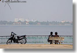 asia, couples, hanoi, horizontal, lakes, motorcycles, vietnam, photograph