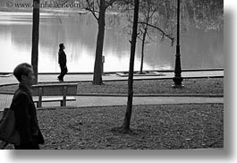 asia, black and white, hanoi, horizontal, lakes, pedestrians, trees, vietnam, photograph