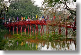 asia, bridge, crossing, hanoi, horizontal, lakes, people, red, vietnam, photograph