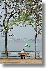 asia, hanoi, lakes, people, trees, vertical, vietnam, photograph