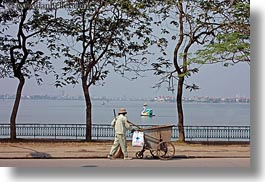 asia, hanoi, horizontal, lakes, people, trees, vietnam, photograph