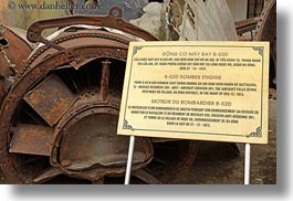 asia, bomber, engines, hanoi, horizontal, military history museum, signs, vietnam, photograph