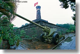 asia, flags, guns, hanoi, horizontal, military history museum, towers, vietnam, photograph