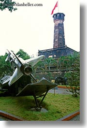 asia, flags, hanoi, military history museum, rocket, towers, vertical, vietnam, photograph