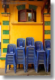 asia, blues, chairs, hanoi, stacked, vertical, vietnam, photograph