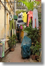 alleys, asia, hangings, hanoi, laundry, vertical, vietnam, photograph