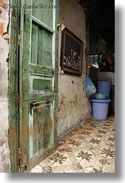 asia, doors, hanoi, old, paintings, vertical, vietnam, photograph