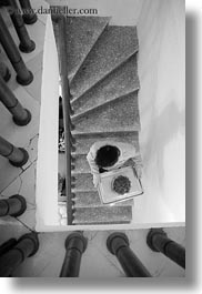 asia, black and white, down, hanoi, stairs, vertical, vietnam, walking, photograph